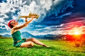 pic of saxophones  - Young saxophonist  - JPG