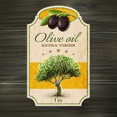 stock photo of virgin  - Best quality extra virgin olive oil trade mark bottle or can label with tree abstract vector illustration - JPG