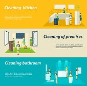 stock photo of premises  - Premises kitchen and bathroom cleaning washing and wiping color flat horizontal banners set isolated vector illustration - JPG