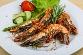 foto of tiger prawn  - Grilled tiger prawns with rosemary and salad leaves - JPG