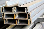 stock photo of foundation  - metal profiles channel foundation for building structures steel - JPG