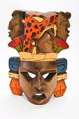 image of mayan  - Indian Mayan Aztec wooden painted mask with roaring jaguar and human profiles isolated on white background - JPG