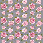 pic of climbing rose  - Vintage vector pink roses seamless pattern - JPG