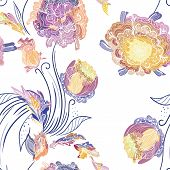 picture of chrysanthemum  - Vector seamless background with purple - JPG