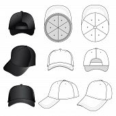 foto of bottom  - Baseball, tennis cap vector illustration featured front, back, side, top, bottom isolated on white. 