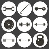 picture of weight lifter  - Set of sign weights for fitness or gym icons - JPG