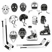 Постер, плакат: Hockey objects