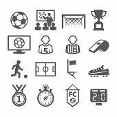 stock photo of offside  - Gray Soccer Icons set on white background - JPG