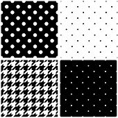 pic of tile  - Seamless black and white vector pattern or tile background set with big and small polka dots and houndstooth tartan for decoration wallpaper - JPG