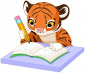 stock photo of cute tiger  - Illustration of cute tiger cub studying - JPG