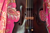 stock photo of bluegrass  - Old violin against bright pink paisley background - JPG