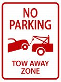 stock photo of towing  - red tow away sign for street - JPG