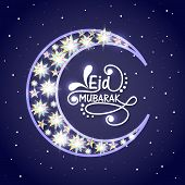 image of crescent  - Creative crescent moon decorated with glowing stars on blue background for famous Islamic festival - JPG