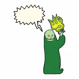 image of ghoul  - cartoon waving halloween ghoul with speech bubble - JPG