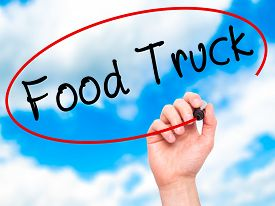 stock photo of food truck  - Man Hand writing Food Truck with black marker on visual screen - JPG