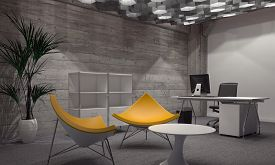 picture of yellow  - Interior of Modern Room Furnished with Contemporary Office and Sitting Furniture - JPG