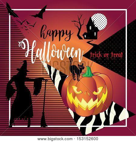 Halloween Halloween Greeting Card With Halloween Symbols Pumpkin