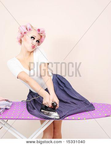 Funny girl ironing skirt similar