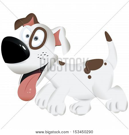 poster of Cute dog wags his tail and wants to play, funny dog, playful dog, cartoon dog, dog isolated, white and brown dog - vector illustration