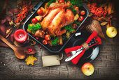 Thanksgiving dinner, Thanksgiving turkey. Served table. Thanksgiving table served with turkey, decor poster