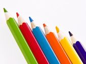 stock photo of collier  - Set of color wooden pencils on a white background - JPG