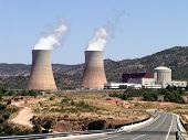 photograph of a nuclear power plant in operation