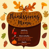 Thanksgiving Menu.; Invitation Design For A Thanksgiving Dinner Or Party. Vector Template, Can Be Us poster