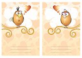 Two vector cards with cute birds