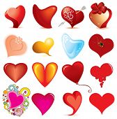 Collection of random style hearts -vector isolated objects (#3)