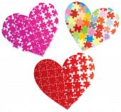 Stylized puzzle hearts.vector illustration