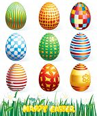 Collection of beauty easter eggs.Vector clip art