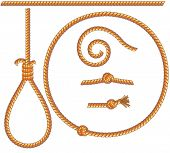 ropes set -vector isolated  design elements: gibbet,knot,loop,spiral