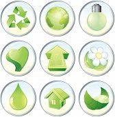 Los iconos de vector de belleza, símbolos de la naturaleza verde o etiquetas: gota, flor, globo, reciclado, corazón, flecha, luz bu