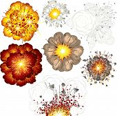 Explosions-set of various vector isolated illustrations - SIMILAR IMAGES PLEASE SEE AT MY GALLERY