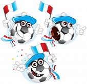 Cartoon football character emotions- FRANCE