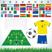 Soccer vector set : soccer field, soccer ball, uniform, lawn all qualified teams flags-easy editable