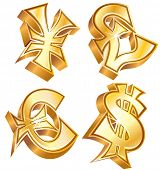 Golden symbols of world currencies: Dollar, Euro, Yen and Pound