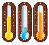 Retro styled liquid thermometers-easy editable vector