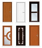 Classic interior and front wooden doors - detailed realistic vector for your design.-to see more sim