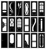 Постер, плакат: Сборник классических дверей силуэты вектор стиле детали картинки чтобы увидеть больше похожих изображений p