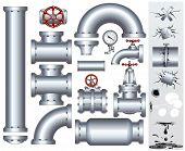 Set of industrial pipeline parts with set of various damaged elements. Including-gas or fuel pipe, f