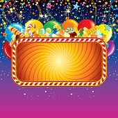 Festive card background with balloons, confetti and over birthday decoration. Ready for celebrating and greeting text or design.