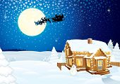 Santa Claus on sledge with Magic Deers flying over night winter background with pine forest, hut, mo