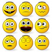 Emoticon - set of cool yellow smileys expressions - detailed vector
