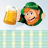 Happy St Patrick's Day Background -  Congratulation Card with Funny Cartoon Leprechaun and space for