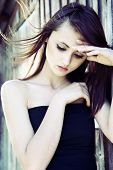 stock photo of teenage girl  - Beautiful pensive girl - JPG