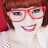 picture of red hair  - Cheerful red haired girl - JPG