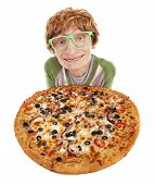Funny guy with pizza