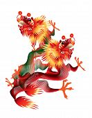 Colorful Chinese dragons on white background
