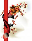 Black Chinese dragon with firecrackers